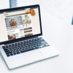 laptop with bbc food website on white tabletop